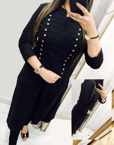 Party Wear Black Color Rayon Selfie Stitched Kurti Design Online