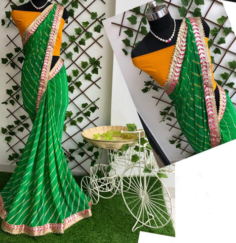 Groovy Green Color Fancy Leheriya Nazmin Gotta Patti Work Designer Saree Blouse For Function Wear