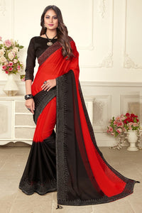 Red Color HB Machine Diamond Stone Work Satin Silk Saree Blouse For Party Wear