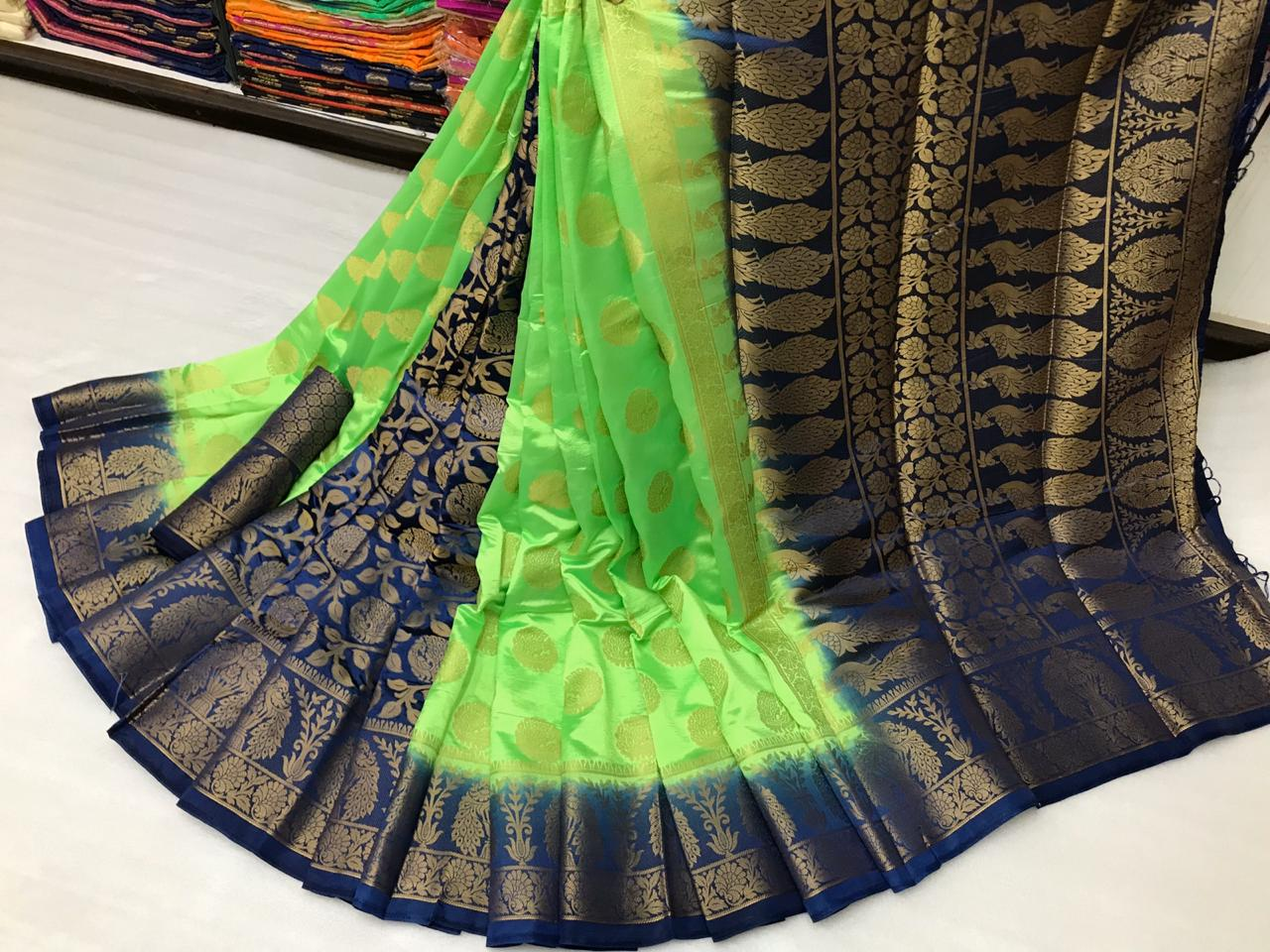 Kelly Color Designer Nylon Silk With Rich Pallu Saree Blouse For Festive Wear