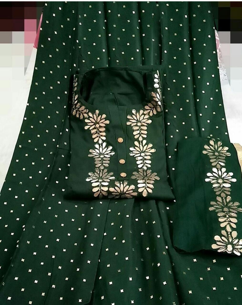 Dark Green Colored Rayon Cotton Kurti Full Stitched Palazo With Najmeen Dupatta For Party Wear VT3034102C