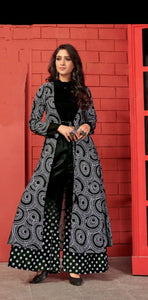Black Colored Heavy Cotton Kurti With Shrug And Plazo For Party Wear aryadressmaker107A