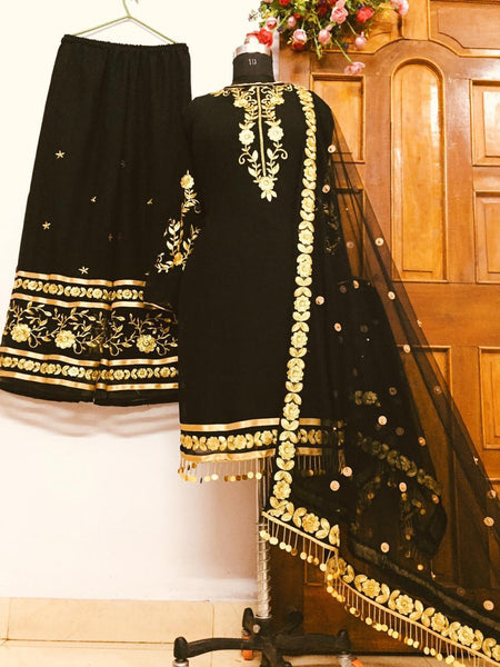 Festive Black Color Full Stitched Georgette Embroidered Glass Pipe Hand Work Plazo Salwar Suit For Wedding Wear
