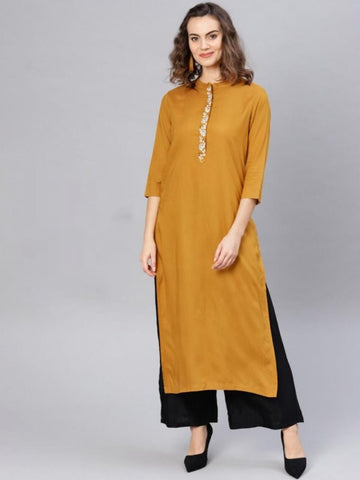 Mustard Embroidered Straight Readymade Kurti Design Online AVADH1060103H