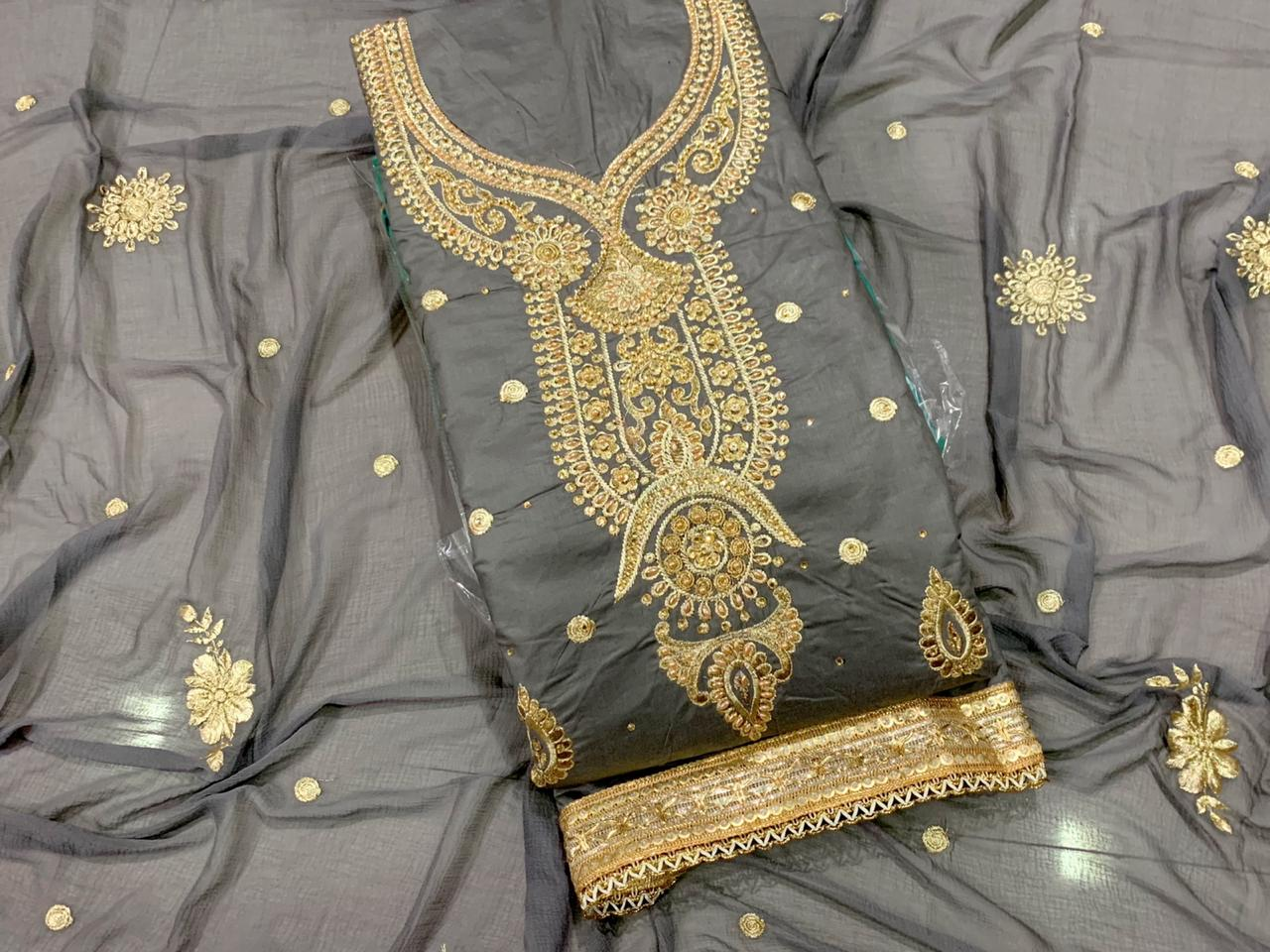 Pewter Color Embroidered Diamond Work Heavy Cotton Salwar Suit For Wedding Wear