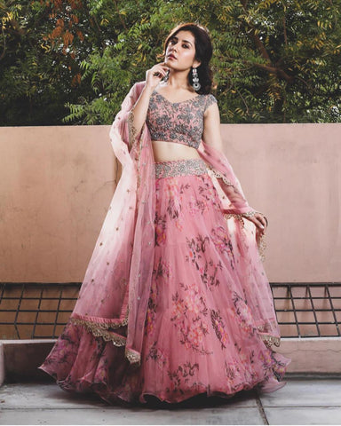Baby Pink Color Organza Silk Printed And Embroidered Work Lehenga Choli For Wedding Wear