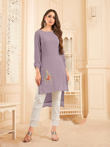 Function Wear Lavender Color Georgette With Diamond Work Full Stitched Kurti Pant For Women CHETANA103D