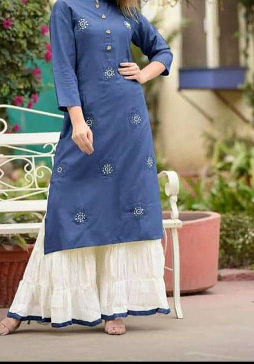 Blue Embroidered Work Readymade Rayon Plazo Kurti VT3052123E