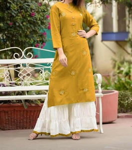 Mustard Rayon Full Stitched Embroidered Work Kurti Plazo VT3052123F
