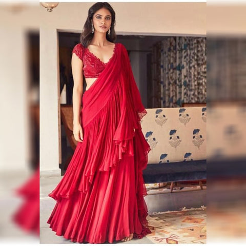 Red Color Georgette Ruffle Designer Saree and Blouse