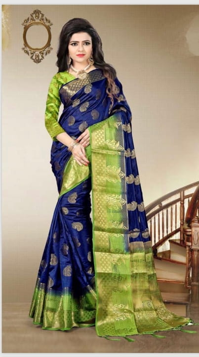 Navy Blue Color Nylon Silk Grand Pallu Designer Saree Blouse For Party Wear