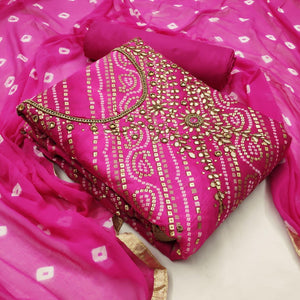 Magenta Color Designer Bandhej Banarasi Silk Foil Hand Work Salwar Suit For Festive Wear