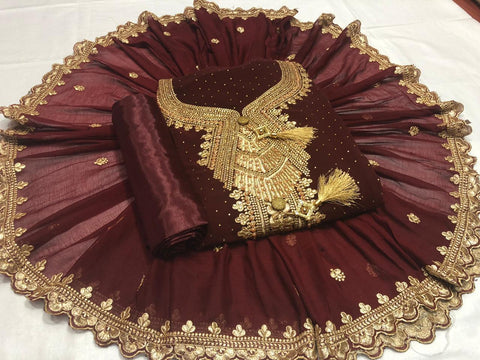 Maroon Color Georgette Diamond Embroidered Work Fancy Salwar Suit