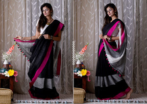 Extraordinary Black Premium Linen Designer Saree For Women
