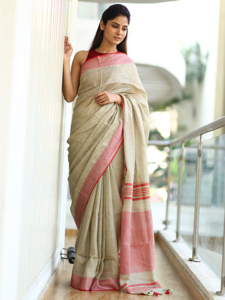 Spellbinding Beige Colored Party Wear Premium Linen Saree For Women