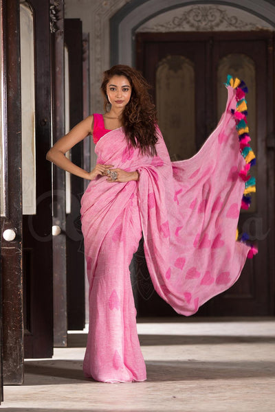 Imposing Pink Casual Printed Pure Linen Saree For Women