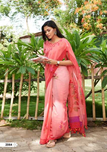 Imposing Light Red Pure Colored Festive Wear Linen Designer Saree For Women