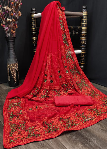Kashmiri Embroidered Latest Designer Saree with Blouse