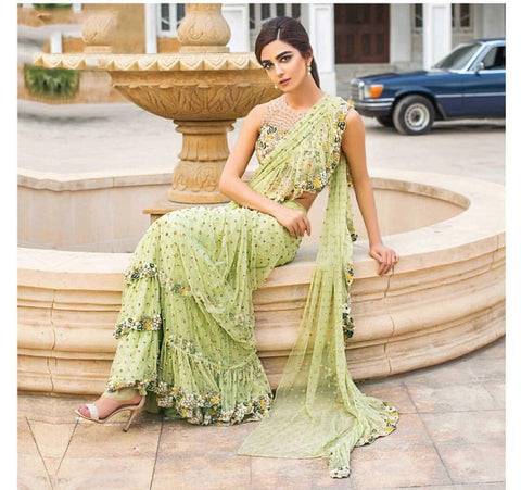 Green Color Party Wear Georgette Embroidered Ruffle Saree