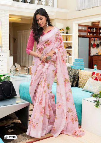 Pink Colored Party Wear Flower Digital Print Linen Saree For Women