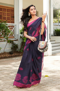 Blue & Purple Colored Latest Designer Linen Printed Saree With Blouse For Women