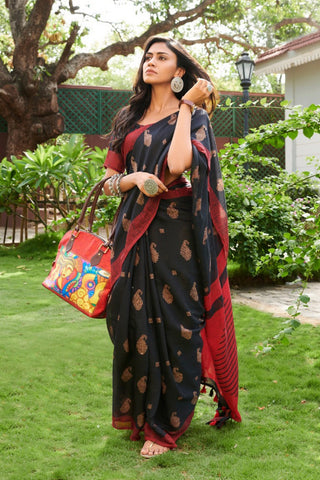 Red & Black Combination Function Wear Linen Printed Saree For Women