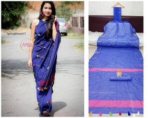 Blue Colored Pure Linen Party Wear Jari Patta With Print Saree For Women