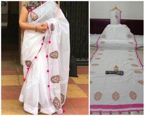 White Colored Pure Linen Jari Patta With Print Saree For Women