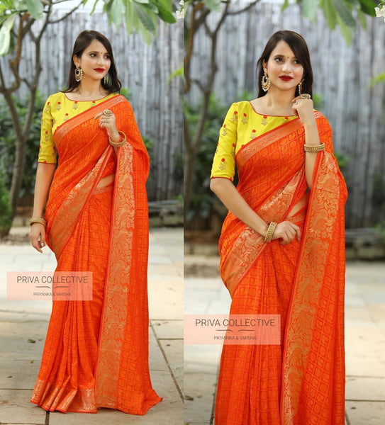 Yellow Colored Banarasi Silk Jacquard Party Wear Moti Work Saree For Women