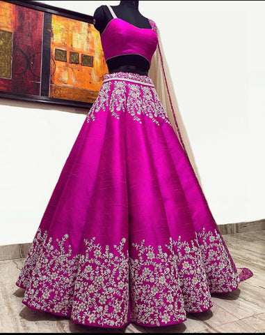 Party Wear Purple Malbari Silk Bridal Lehenga Choli