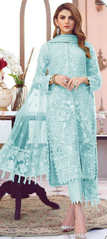 Baby Blue Color Designer Butterfly Net Multi Sequence Embroidered Stitch Moti Work Salwar Suit For Women