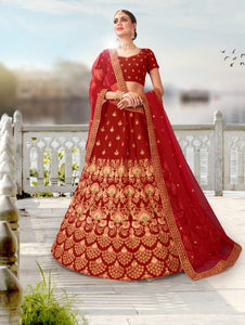 Crimson Color Designer Velvet Thread Coding Stone Work Lehenga Choli For Wedding Wear