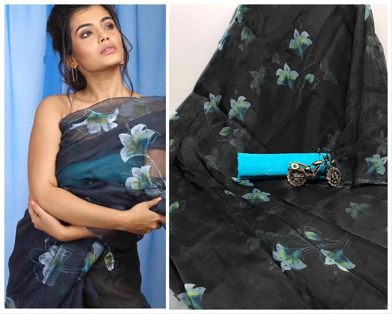 Black Color Digital Printed Organza Saree Blouse For Festive Wear
