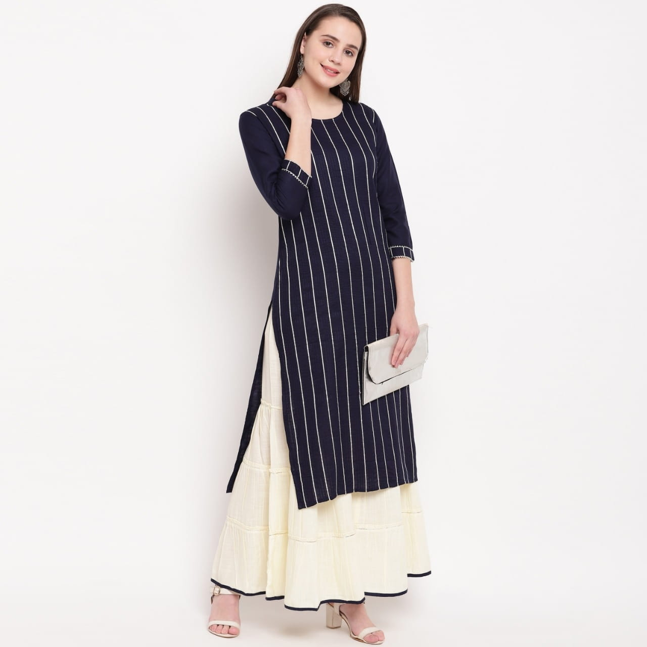Winning Navy Blue Color Rayon Striped Full Stitched Sharara Fancy Kurti For Women VAIKUNTH120A
