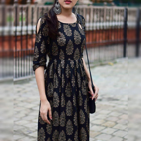 Black Rayon Printed Full Stitched Kurti For Party Wear MINIAB182A