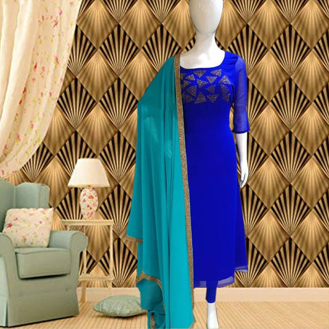 Party Wear Royal Blue Color Faux Georgette Diamond Work Ready Made Salwar Suit