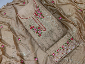 Tortilla Color Fancy Embroidered Diamond Sequence Work Chinon Salwar Suit For Festive Wear