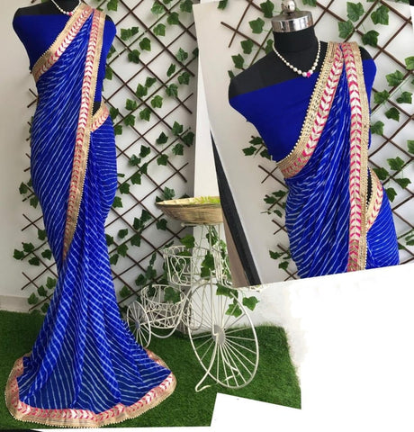Eye-catching Royal Blue Color Designer Gotta Patti Work Nazmin Leheriya Saree Blouse For Party Wear