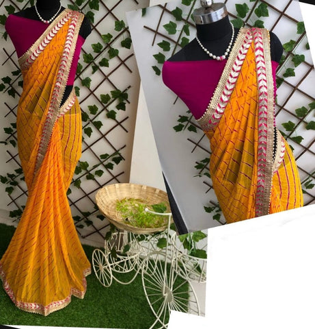 Unique Mustard Color Designer Leheriya Nazmin Beautiful Gotta Patti Work Saree Blouse For Wedding Wear