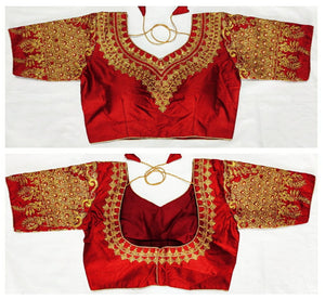 Barn Red Color Designer Malbari Silk Embroidered Pearl Moti Work Full Stitched Blouse For Party Wear