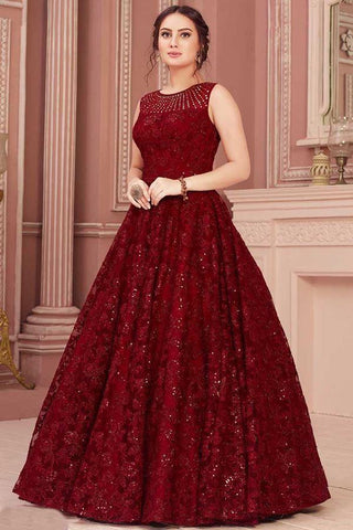Party Wear Georgette Maroon Color Gown With Heavy Chine Sequence Work For Women