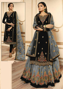 Black Color Faux Georgette Multi Thread Zari Embroidered Stone Work Salwar Suit For Wedding Wear