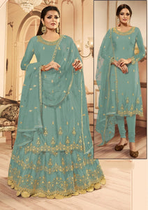 Air Force Color Multi Zari Stone Embroidered Work Designer Butterfly Net Salwar Suit For Function Wear