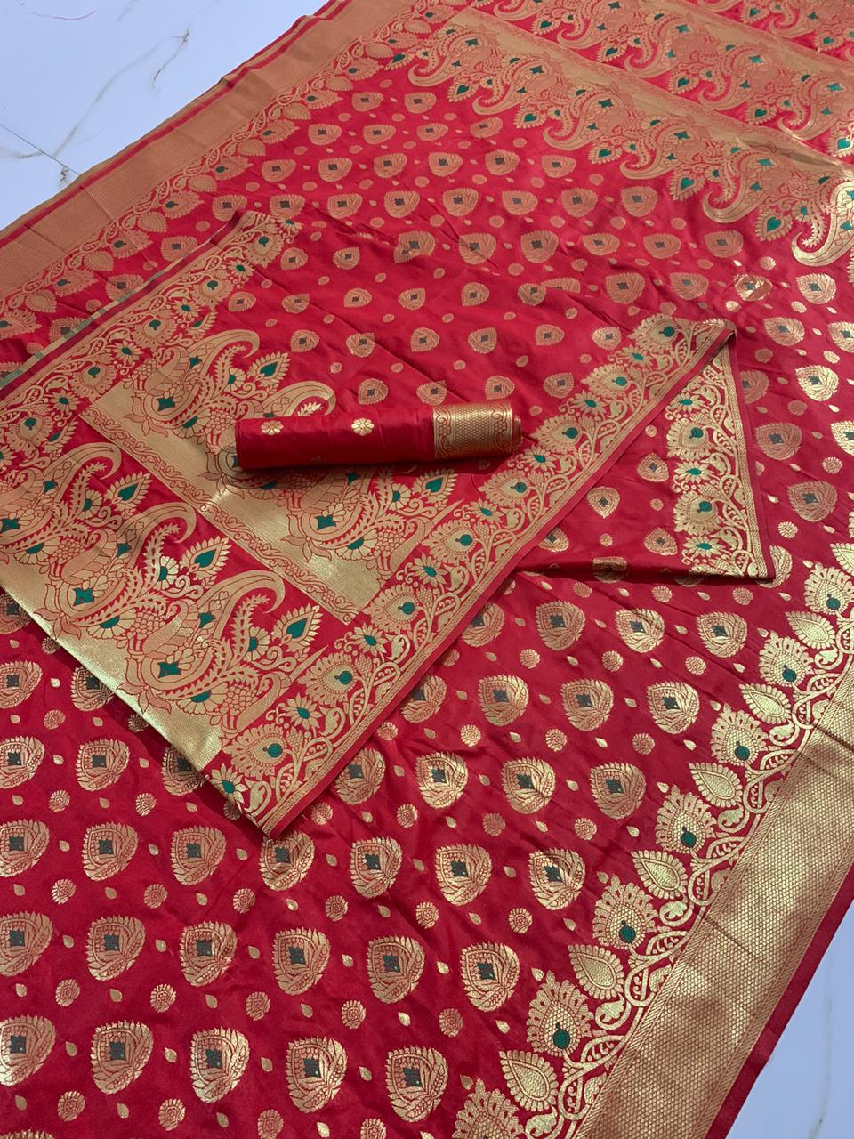 Burgundy Color Soft Pure Banarasi Handloom Silk Mina Zari Weaving Brocade Pallu Saree Blouse