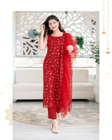 Red Georgette Stitched Suit Set