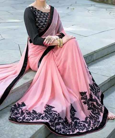 Pink Color Party Wear Embroidered Silk Saree For Women