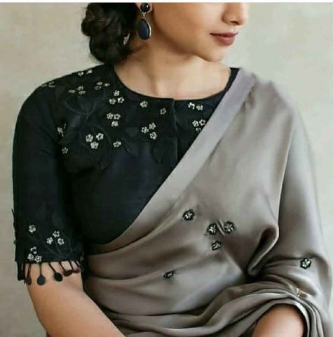 Gray Colored Party Wear Two Tone Silk Embroidery Saree For Women