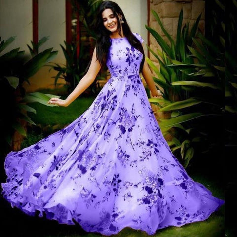 Marvellous Purple Color Designer Digital Printed Heavy Crape Full Stitched Gown For Festive Wear