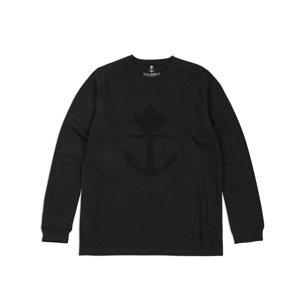 Heavy-Duty 100% Cotton Black On Black Classic Long Sleeve