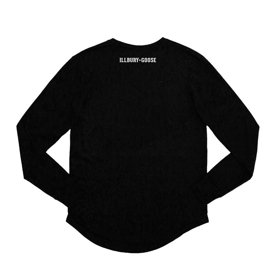 Black Bamboo Cotton Collegiate Long Sleeve